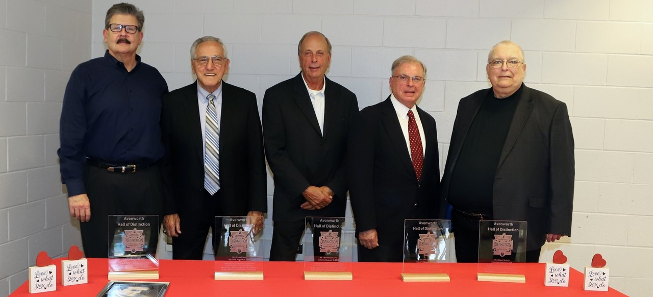 Congratulations to the Inaugural Class of the Avonworth Hall of Distinction!  Mr. James Knox (deceased), Dr. Bruno Raso, Mr. Charles Lenzner, Mr. John Lenzner, & Mr. Robert Schulz