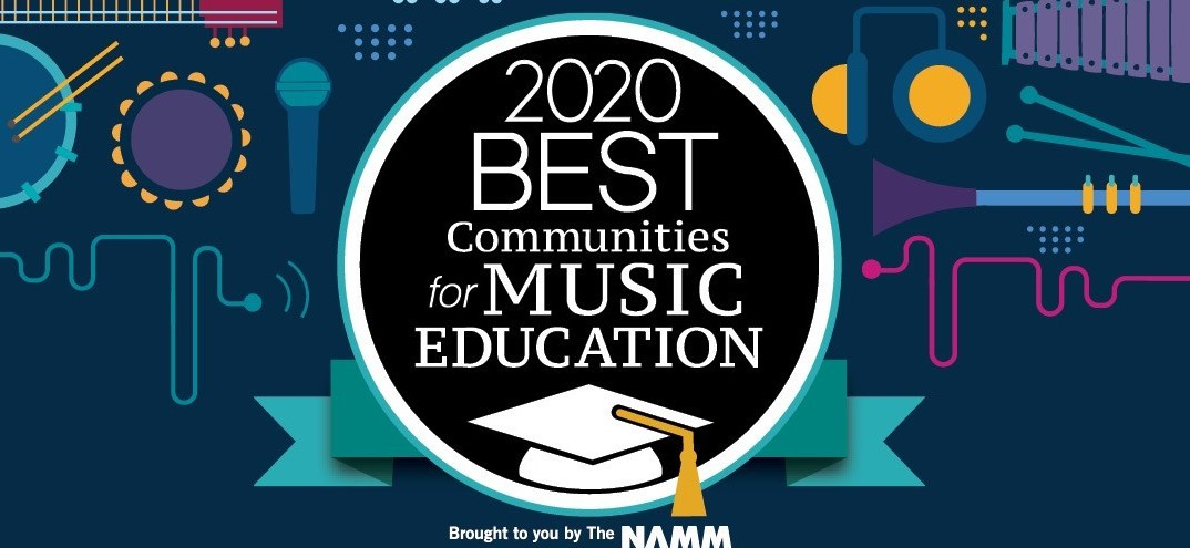 Image stating 2020 Best Communities for Music Education with a background of different intstrumetns.