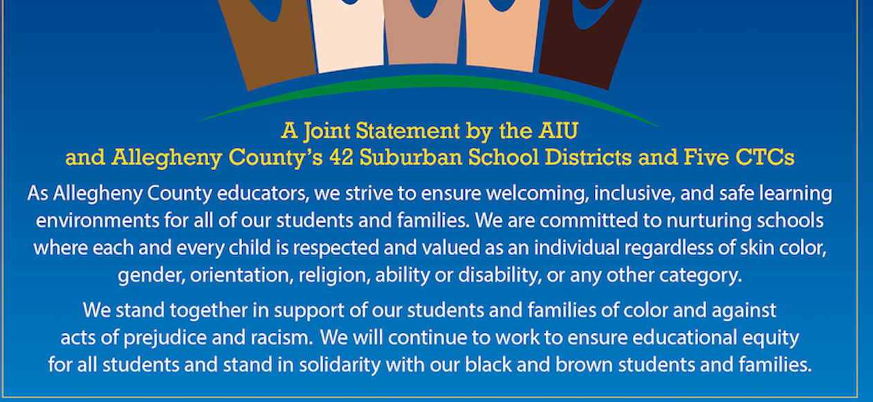 Image of people of color with a statement in support of students and families of color