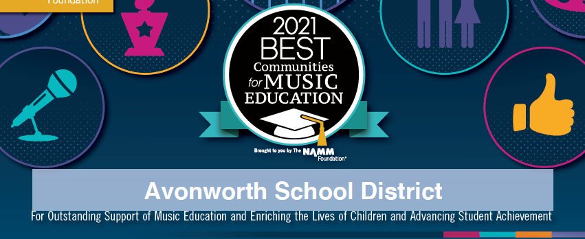 Logo for the 2021 best communities for music education.  The logo has a graduation cap and other images in the background that are music related in nature.