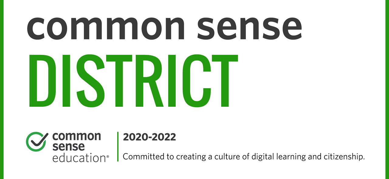 Banner showing that Avonworth has earned the recognition as a Common Sense District for 2020-2022.  There is a comment at the bottom stating Committed to creating a culture of digital learning and citizenship.