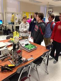 (Students exploring Beattie Career Center classrooms)